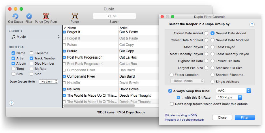 Dupin detects and deletes duplicate files in iTunes